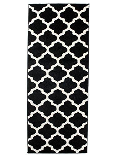 Carpeto Läufer Teppich Modern Schwarz 80 x 200 cm Marokkanisches Muster Kurzflor Furuvik Kollektion -