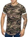 Cabin Oversize Army Camouflage Herren Vintage Rundhals T-Shirt Grün M