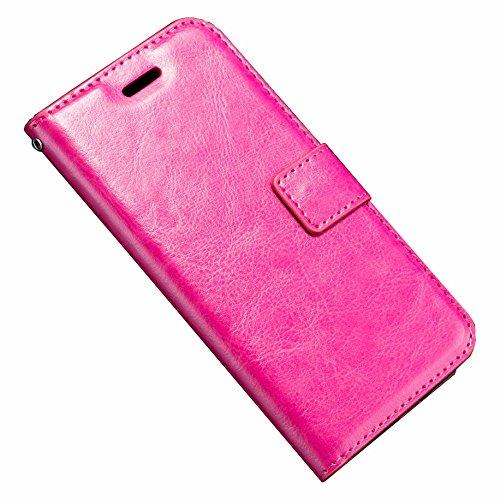 Wallet Case für Apple iPhone X 10 5.8 Zoll | VINTAGE PU Leder | Kunstleder Flip Cover mit Kartenfach Handyhülle Tasche Buch Schutz Hülle Rosa