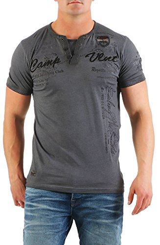 Violento Herren T-Shirt Freizeitshirt Polo Hemd Kurzarm Shirt Sportswear Casual Vintage Washed 3065 3122-dunkelgrau