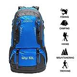 Gohyo 60L Sac à Dos Randonnée Bagage Backpack Léger Etanche Unisexe Voyage Alpinisme Camping Trekking Bleu
