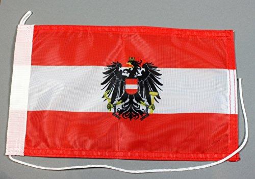 Buddel-Bini Bootsflagge Österreich mit Wappen Adler 20 x 30 cm in Profiqualität Flagge Motorradflagge
