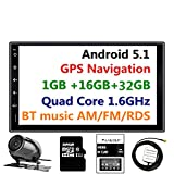 Panlelo PA09YZ32, In dash 2 DIN Full HD touch screen autoradio da 17,8 cm, Android 5.1, navigazione GPS, stereo, Quad Core 16 GB + 32 GB Bluetooth, radio AM/FM/RDS, WiFi, telecamera