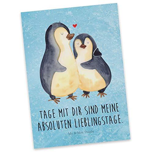 Mr. & Mrs. Panda Postkarte Pinguin umarmend - Pinguin, Liebe, Liebespaar, Liebesbeweis, Liebesgeschenk, Verlobung, Jahrestag, Hochzeitstag, Hochzeit, Hochzeitsgeschenk Postkarte, Geschenkkarte, Grußkarte, Karte, Einladung, Ansichtskarte, Sprüche