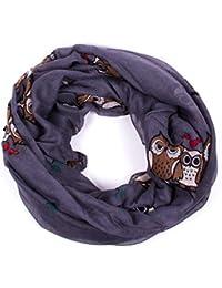écharpe tube foulard femme mprimé chouette peace et étoiles en plusieurs couleurs