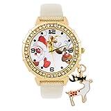 Souarts Damen Armbanduhr Einfach Stil Weihnachtsmann Muster Hirsch Anhänge Analoge Quarz Uhr mit Batterie Rot (weiß)
