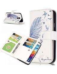 aeeque® Samsung Galaxy G530/i9060/J52015/Nota 5/S3/S4/S5/S6/S6Edge nueve tarjetas cartera de piel sintética con tapa protectora Shell