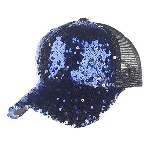 Jia Meng Muttertag Pailletten Mosaik Netzkappe Baseballkappe Baseballmütze Hip Hop Hüte caps Baseball Classic Sport Cap Baseballmütze Cowboyhüte Fischerhüte Schirmmützen (Einheitsgröße, Blau)