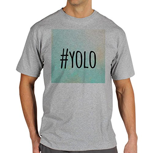 YOLO Blue Sky Edition Hashtag Background Herren T-Shirt Grau