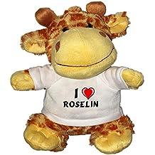 Jirafa de peluche (juguete) con Amo Roselin en la camiseta (nombre de pila