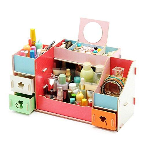 ibtisch Tidy Schubladen Cosmetics Halter Schmuck Display Aufbewahrungsbox Fall mit Spiegel 1, holz, mehrfarbig, 30.8*20*20.6CM (Holz-schubladen-organizer)
