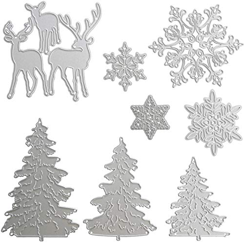 (Pangda 8 Stücke Weihnachten Metallisch Stanzformen Prägestempel Schablone, Enthalten Schneeflocke, Weihnachtsbaum und Rentier Metallform für DIY Handwerk)