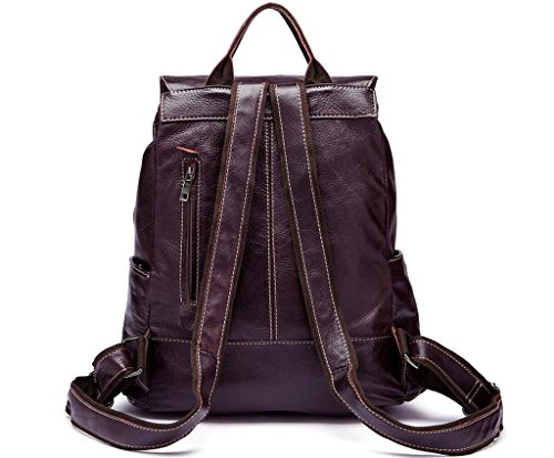 Shfang Mens Leather Backpack / Flip Flap / Student Bag, Andare A Scuola / In Viaggio, 2 3