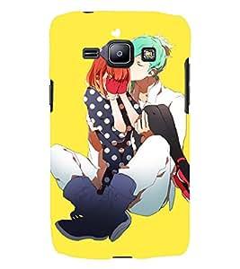Printvisa Premium Back Cover Love Couple With Yellow Background Design For Samsung Galaxy J1::Samsung Galaxy J1 J100F