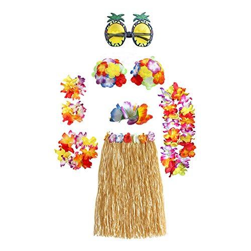 AUNMAS 8 stücke Hawaii Hula Dance Show Girlande Kleidung Set Party Leistung Dekoration Hula Gras Rock Kostüm Set Beach Party Favors(2#)