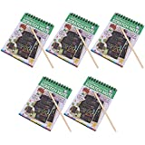 Baoblaze 5 Pieces Rainbow Scratch Pad Kawaii Children's Craft Scratch Book DIY Sketchbooks for Fun - Green