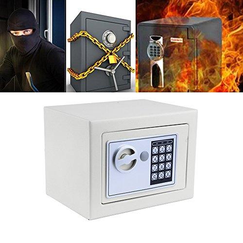 Qulista Digitaler Möbeltresor Safe Tresor Klein,feuerfest mit Zahlenschloss, 2 Schlüsseln Wandtresor für Haus, Büro, Hotel 22.5 x 17 x 16cm (Weiß)