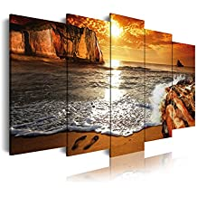 DekoArte 268 - Cuadro moderno en lienzo 5 piezas XXL paisaje amanecer en playa, 200x3x100cm