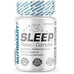 Sleep & Relax Complex - 60 vegane Kapseln - Natürliche Melatonin-Quelle - Mit L-Tryptophan und Kräuterextrakten - Ohne Magnesiumstearat - natürliches Schlafmittel statt starker Schlaftabletten
