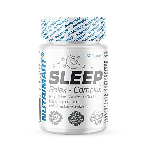 Sleep & Relax Complex - 60 vegane Kapseln - Natürliche Melatonin-Quelle - Mit L-Tryptophan und...