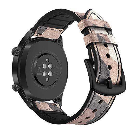 AISPORTS Ersatz-Armband für Samsung Gear S3 Frontier/Classic Band Leder Silikon Hybrid 22 mm Armband Ersatz Band für Huawei Watch GT/Honor Watch Magic/Samsung Galaxy Watch 46 mm Camouflage Pink