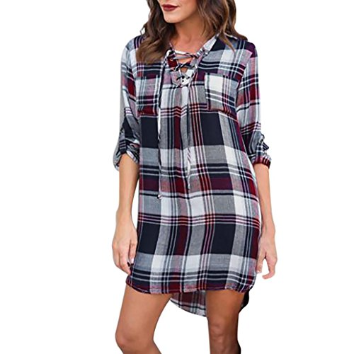 Longra Damen 3/4 Arm Kariertes Kleid V-Ausschnitt Tunika Lange Shirt Kariert Hemdkleid Shirtkleid Blusenkleid Karo Kleid Damen Plaid Bluse Hemd Langshirt Minikleid Tops (Multicolor, M) (Button Front Dress Shirt)
