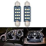 42mm Soffitte C5W LED Auto Glühbirne, HSUN 12Stück LEDs smd2016mit Canbus für KFZ-Innenraum Kuppel Glühbirnen Cargo Licht Kennzeichenbeleuchtung, 6000K, weiß, 2Stück