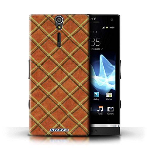 Kobalt® Imprimé Etui / Coque pour Sony Xperia S/LT26i / Rouge conception / Série Motif Entrecroisé Orange