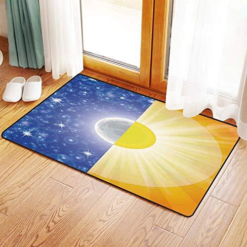 advorleger, Apartment-Dekor, Split-Design mit Sternen am Himmel und Sonnenstrahlen Licht Solar Bala,Mikrofaser Duschvorleger Teppich für Badezimmer Küche Wohnzimmer 60x100 cm ()
