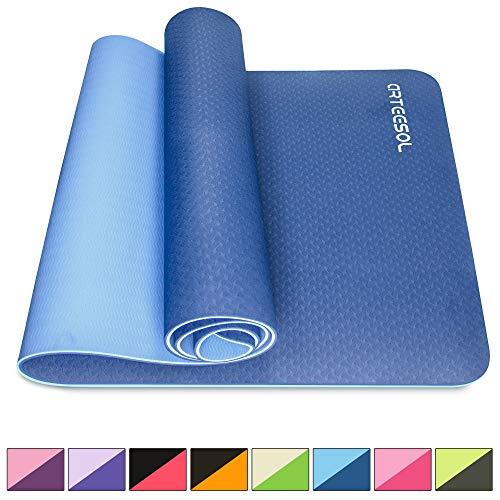arteesol Yogamatte rutschfest Gymnastikmatte Schadstofffrei TPE Naturkautschuk Dünn Yoga Matte Fitnessmatte für Yoga Pilates Fitness 183cm x 80cm x 6mm (Navy, 183x80x0,6cm)