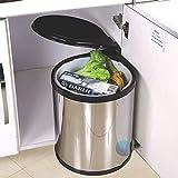 ZPWSNH bidone della Spazzatura in Acciaio Inox, Sistema di separazione dei rifiuti, Cucina, Camera da Letto, Ufficio, Bagno, Acciaio Inossidabile, (14L) UK
