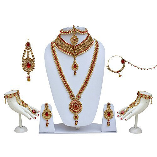 Lucky Jewellery Bridal Golden Red Color Alloy Wedding Set for Girls &...