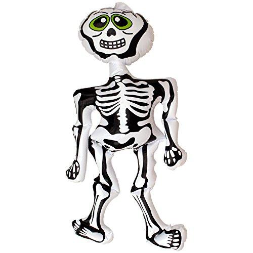 Aufblasbares Gerippe Skelett 73cm Zubehör Deko für Halloween + Faschingskostüme (Aufblasbares Skelett)