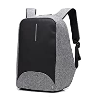 Business Laptop Backpack with Anti-thief Zipper and USB Charging Port, Waterproof Travel Daypack College Bag with Hidden Compartment for Men and Women - Grey