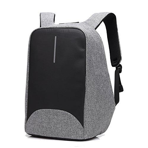 Sac à dos Antivol Sac pour ordinateur portable avec fermeture à glissière anti-voleur et USB Chargement Sac à dos décontracté imperméabler-Gris