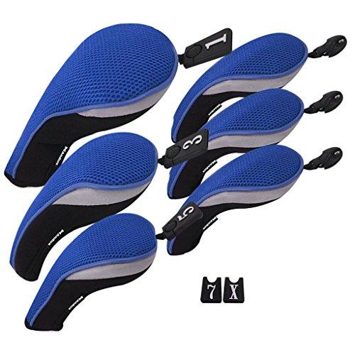 Eisen-satz (Andux golf Schlägerkopfhüllen satz Eisen hauben austauschbar Nr. Etikett (3 Hybrid +3 holz) MT/ZH03 Grau)