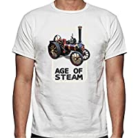 Stoneys Badges Age of Steam Traction Engine T Shirt 100% Cotton Free UK P&P (Large) White