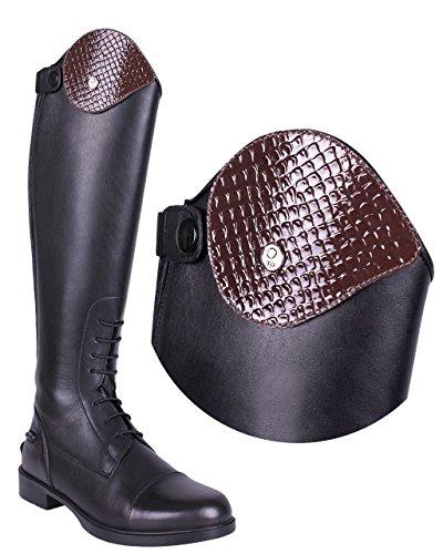 QHP austauschbarer Dressurbogen/Schaftoberteil für Reitstiefel Romy Leder mit Klettverschluss Verschiedene Designs