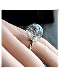 Semillas de diente de león Wish real flor en cristal anillos