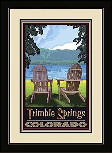 Northwest Art Mall JK-4816 MFGDM ADCL Trimble Springs Colorado Adirondack Chairs Lake Gerahmtes Wandbild von Künstler Joanne Kollman, 33 x 40,6 cm - Lake-colorado Springs