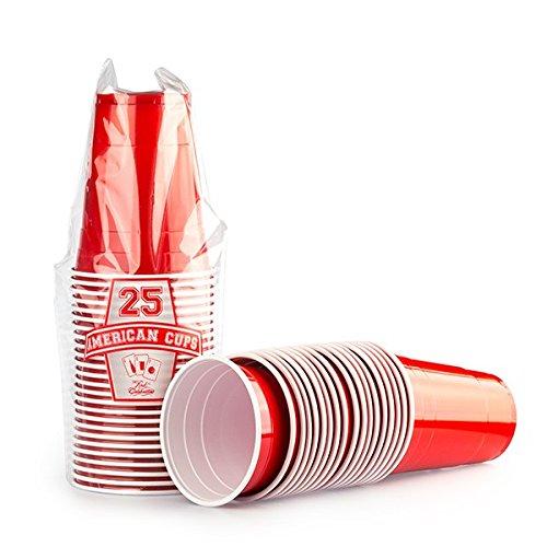 2500 x Gobelet Rouge Américain Red Cups - Beer Pong Original 50cl - Party Grand jetables Verres en plastique 16oz - Plusieurs couleurs | College & anniversaire tasses - Red Celebration
