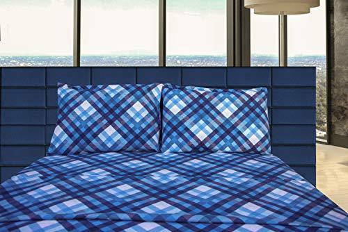 Friends at Home Bettwäsche-Set für King-Size-Bett, 100% Baumwolle, weich, hypoallergen, bequem, flauschig, Hotel-Collection, schweres Flanellgewebe, kariert, Marineblau, Blau, Weiß