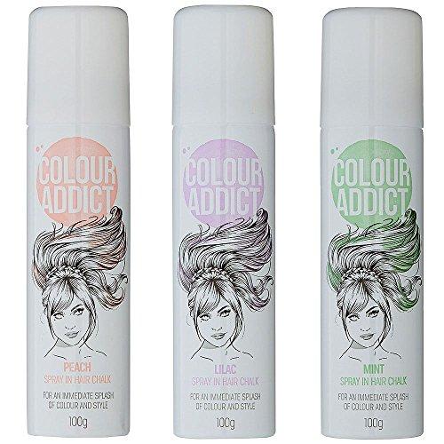 2x Farbe Addict Spray Haar Kreide (mint, Pfirsich oder lila) temporäre Haar Dye-Pastell Farben (Dye Haar-spray Temporäre)