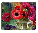Anemone Coronarias Flowers Vase Colorful Nature Decoration Glass Shiny Mouse Pads Customized Made to Order Support Ready 9.8 X 11.8 Eco Friendly Cloth