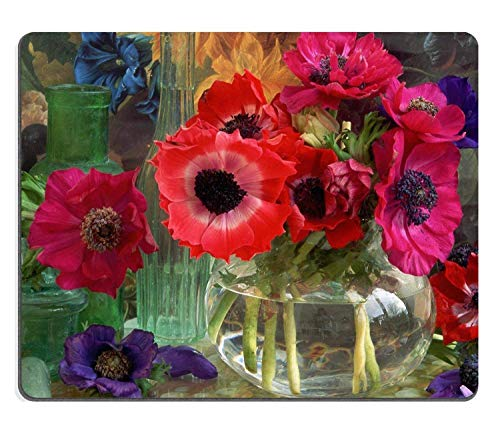 Anemone Coronarias Flowers Vase Colorful Nature Decoration Glass Shiny Mouse Pads Customized Made to Order Support Ready 9.8 X 11.8 Eco Friendly Cloth (Silver Flower Vase)