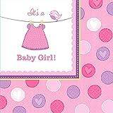 Amscan 511489 Kleine Servietten zur Geburt eines Mädchens (in englischer Sprache), 33cm
