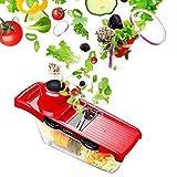 LeRan Salatschneider Lebensmittel Chopper Gemüse Obst Hand Mixer Slicers mit Behälter eine Professionelle Küche Werkzeuge Geeignet für Alle Ihre Schnitte (Rot)