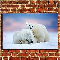 Orsi polari animali selvatici stampa su tela da parete con cornice portafoto poster Small Medium Large, 20