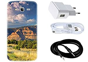 Spygen Samsung SM-G7106 Galaxy Grand 2 Case Combo of Premium Quality Designer Printed 3D Lightweight Slim Matte Finish Hard Case Back Cover + Charger Adapter + High Speed Data Cable + Premium Quality Aux