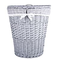 Grey Painted Oval Matt Wicker Laundry Basket Cotton Lining With Lid